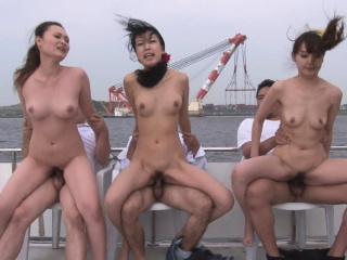 Group of Asian sluts sucking off the fellas with desire