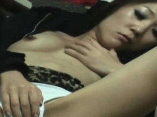 Lonely asian babe rubs