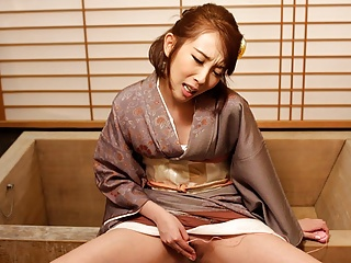 Japanese housewife in a kimono, Aya Kisaki is masturbating,