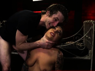 Squirt bdsm on fucking machine and handjob domination