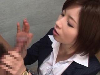 Adorable Saki Okuda performed love rocket jerking in style