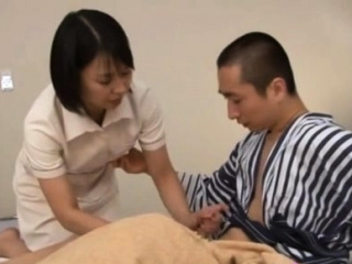 Japanese milf nurse bows over for a hardcore vagina pounding