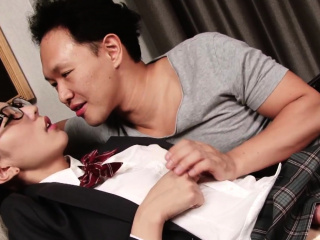 Nerdy oriental ladyboy gets barebacked by guy