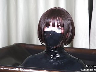 Latex vacuum box bondage and BP femdom