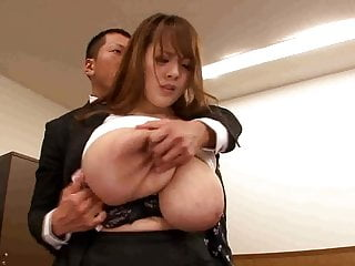 Boss playing with secretary giant tits