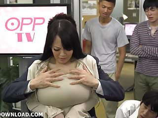Giant tits asian licking her huge boobs