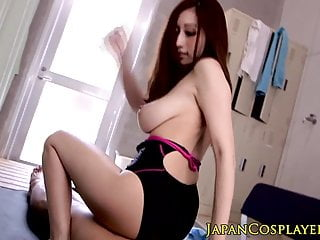 Busty japanese Julia grinds on cock in swimsuit