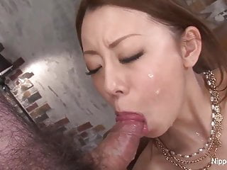 Busty Asian shows off her blowjob skills